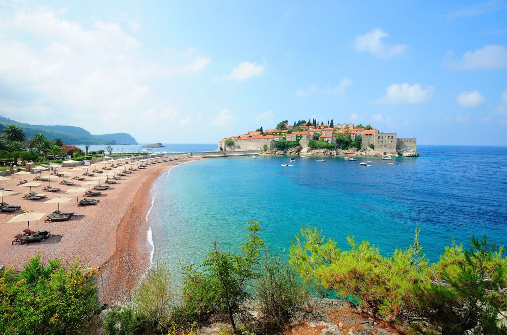 12025252 - sveti stefan island with medieval architecture in montenegro