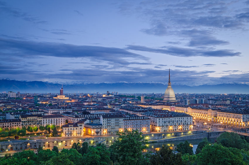 27904637 - turin (torino), high definition panorama at twilight