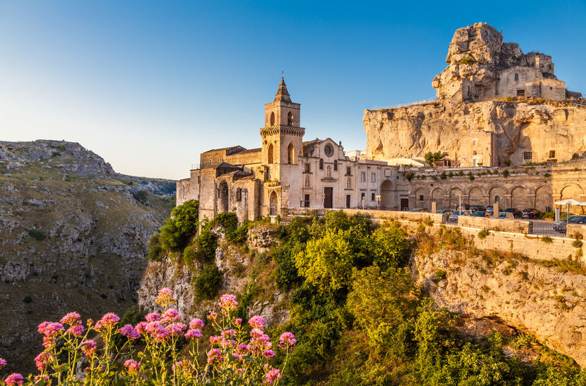 44062455 - ancient town of matera sassi di matera, european capital of culture in 2019, in beautiful golden morning light at sunrise, basilicata, southern italy