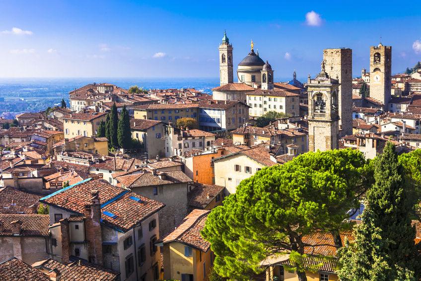 48997131 - view of medieval bergamo, italy