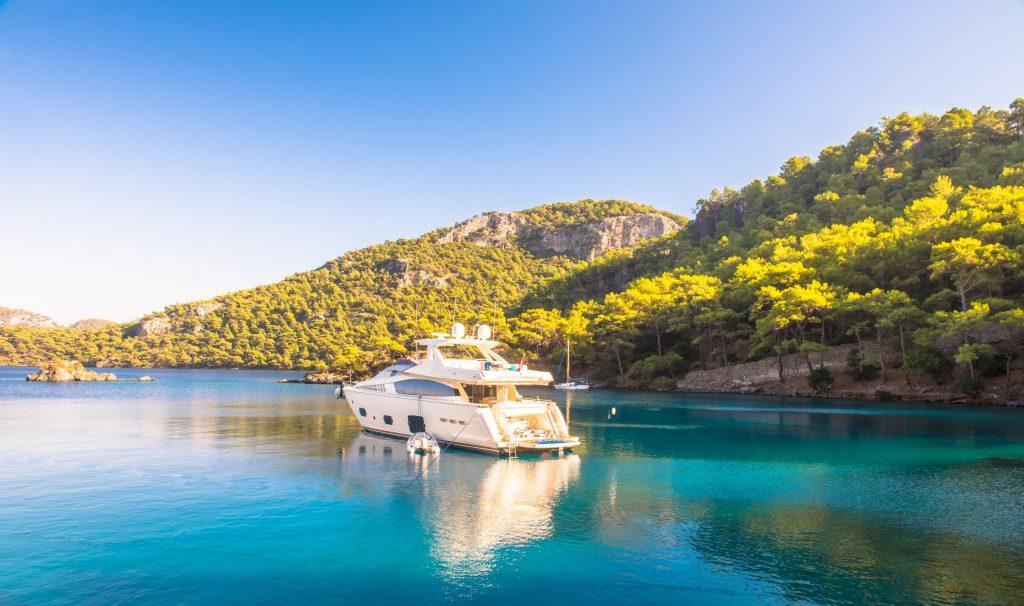 99241767 - boat sailing in mediterranean sea marmaris, turkey.