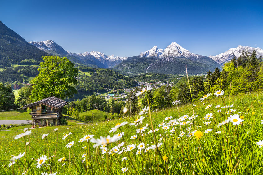38388573 - idyllic landscape in the alps with traditional mountain chalet in springtime