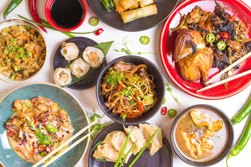62444801 - assorted chinese food set. chinese noodles, fried rice, dumplings, peking duck, dim sum, spring rolls. famous chinese cuisine dishes on white table. top view. chinese restaurant concept. asian style