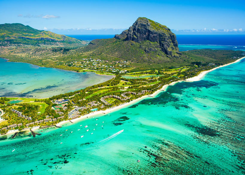 96236203 - aerial view of mauritius island panorama and famous le morne brabant mountain, beautiful blue lagoon and underwater waterfall