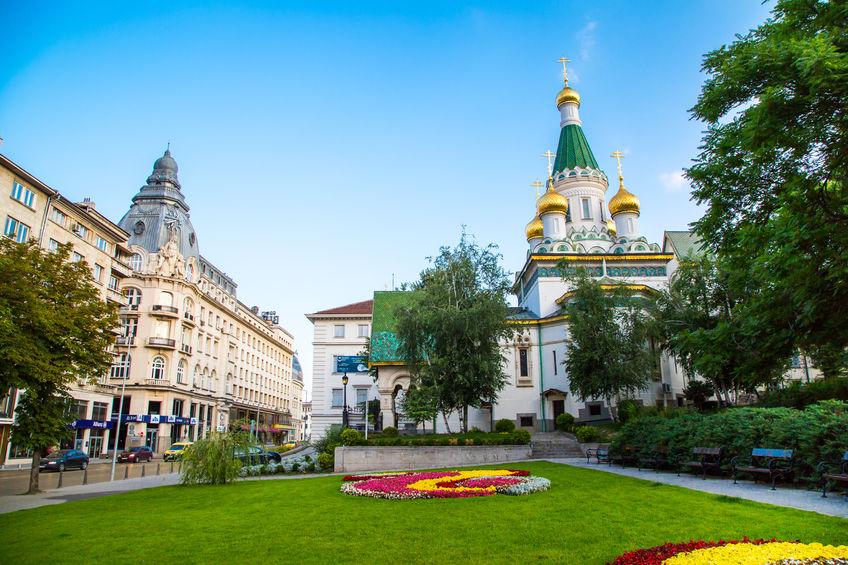 Sofia, Bulgaria - July 5, 2015: The Russian St. Nicholas church in the centre of Sofia city, capital of Bulgaria