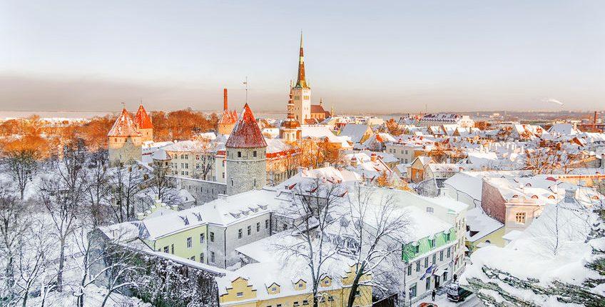 Tallinn panorama winter morning