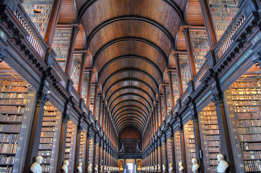 Dublin, Ireland - May 30, 2017: The Long Room in the Old Library at Trinity College Dublin.